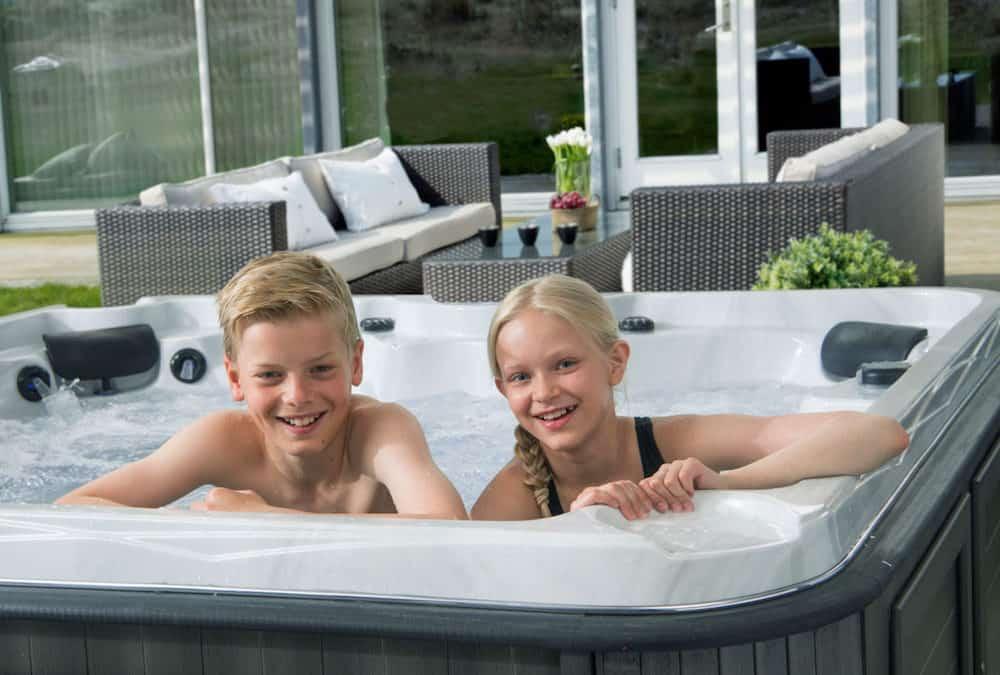 Kids in a hot tub