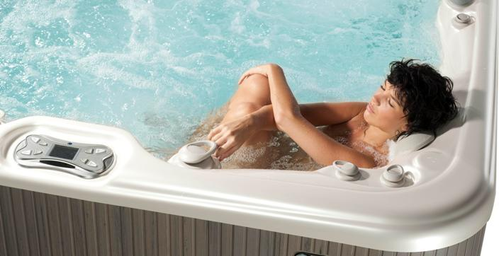 mom relaxes hot tub
